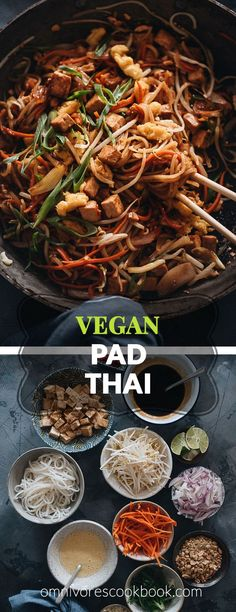Vegan Pad Thai - The fat noodles are stir-fried with plenty of aromatics, veggies, vegan eggs, and marinated tofu in an extra rich sweet and sour sauce. Detailed cooking notes are included to guarantee you a great result that tastes even better than the restaurant version. {Gluten-Free adaptable}