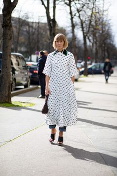 The Best Street Style Looks From Paris Fashion Week Fall 2020 Autumn Street Style, Street Style Looks, Cool Street Fashion, Paris Fashion, French Brands, People Sitting, Style Snaps, Shirt Dress, Shirts