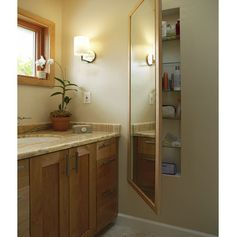 Built-ins boost storage in small bathrooms.  I especially liked this full-length mirror with between-the-studs storage behind it.