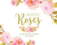 Flower clipart Floral clipat Roses watercolor clip art