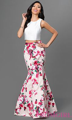 Two-Piece Print Skirt Mermaid Dress by Xscape at PromGirl.com