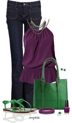 Color Morado con verde excelente combinacion