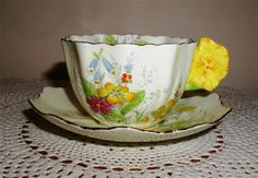 Paragon Yellow Flower Handle Tea cup Teacup
