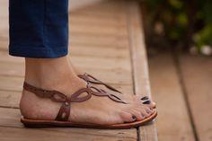 Braun Ledersandalen, flache Sandalen Sommer Schuhe, Sandalen braun