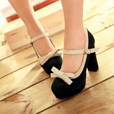 Ultra high heels single shoes female shoes bow color block decoration platform thick heel platform casual shoes wedding shoes-inPumps from S...