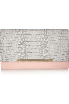 Diane von Furstenberg Adele crocodile-effect leather and PVC clutch