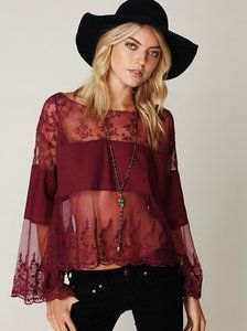Free People Cannaregio Oversized Mesh Lace Inset Scoop Top but in white