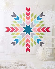 Chevron snowflake quilt by Cristina Tepsick for Issue 14 of Love Patchwork & Quilting magazine