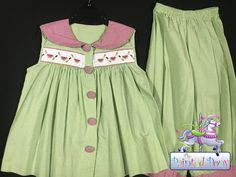 "Adorable girl's 2 pc set by ""Beaux at the Belles"", smocked, size 5, only $16.99"