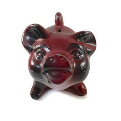 "Vintage Coin Bank - Banthrico Piggy Bank - Red and Black ""Pig"" Still Bank by BatnKatArtifacts"