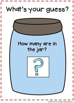 Estimation Jar Printables by First Grade Schoolhouse. 2 different-sized estimation  recording sheets and a poster. FREE Download.