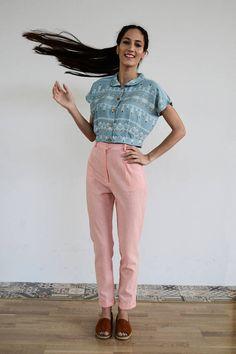 Limited Edition Ciel Summer Crop Shirt/ Vintage Crop Shirt/ Harem Pants, Trousers, Linen Pants, Crop Shirt, Parachute Pants, High Waist, Spring Summer, Trending Outfits, Pink