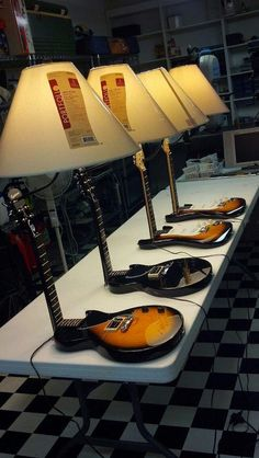 Guitar Lamps. #music #interiors #lamps #guitar #musicinteriors #decor