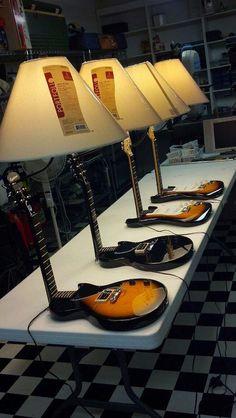 Guitar Lamps. #music #interiors #lamps #guitar #musicinteriors #decor http://www.pinterest.com/TheHitman14/music-interiordecor-%2B/