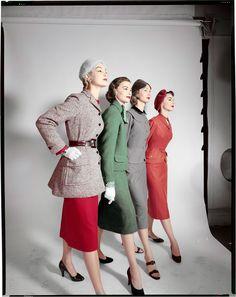 Test, Models: G to D. Jean Patchett, X, Evelyn Tripp, Nancy Berg. Circa 1952© The Estate of Erwin Blumenfeld.