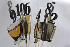 Wedding Table Numbers as musical instruments