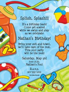 25 best pool party invitations images on pinterest invitations summer party invitations splash birthday party invitations pool party invite stopboris Image collections