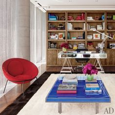 You can never go wrong with an Yves Klein table in my book... | Tony Ingrao and Randy Kemper | Architectural Digest...