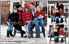 Christmas Card Ideas.  lopve THE COLORS OF THE FAMILY OUTFITS - ALL MATCHING in white, red, black with jeans, Mom in black skirt*****LOVE******
