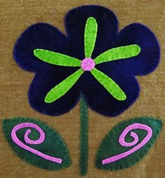 Fanciful Flowers. Wool Applique Block of the Month from Sew Creative in Ashland, OR.