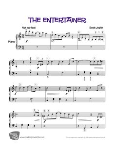 The Entertainer (Joplin) | Easy Piano Sheet Music (Digital Print)