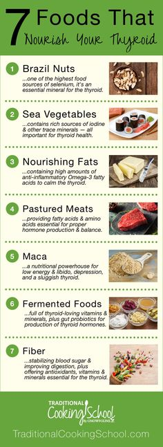 7 Foods That Nourish Your Thyroid | Gaining weight? Feeling depressed or sluggish? Is your hair falling out? Have you experienced strange or irregular heartbeats? Can't sleep? All roads might lead to your thyroid. Thyroid problems can be genetic, and though you can't control your genes, you can control your diet and lifestyle. Nourish your thyroid with these 7 foods! | TraditionalCookingSchool.com