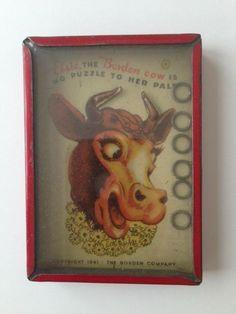 Circa 1941 ELSIE THE BORDEN COW PUZZLE TIN DEXTERITY GAME TOY AUTHENTIC