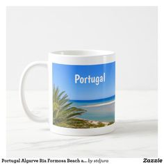 Portugal Algarve Ria Formosa Beach and Seascape Coffee Mug - photography gifts diy custom unique special Ria Formosa, Algarve, Photo Mugs, Funny Jokes, Portugal, Create Your Own, Coffee Mugs, Monogram, Photography Gifts