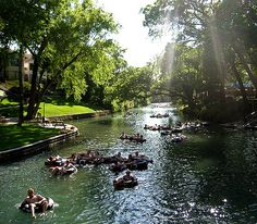 Tubing down the Guadalupe River in New Braunfels, Texas