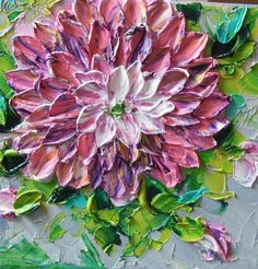 Oil Painting Home Decor Shades of Pink and Purple Impasto Dahlias by Jan Ironside