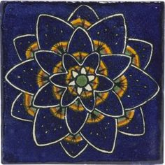 Blue Peacock Flower Talavera Mexican Tile