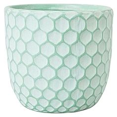 Zanui | Lift your home-grown florals and herbs with a playful pop of colour in the textured Hive Pot, Seaglass from Mr Greengrass | 18.95