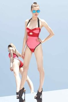 Red one piece bathing suit