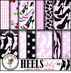 HEELS Pinks set 1 digital papers for by IrrationalArts on Etsy, $3.95