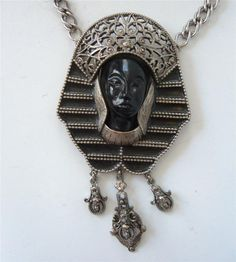 Vintage BOLD Tribal Egyptian Revival Face Necklace Black Lucite Silver Filigree #Unbranded #Pendant