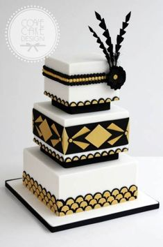 Gold and black graphics wedding cake love! en 2019 cake, art deco cake y ch Cupcakes, Cupcake Cakes, Fondant Wedding Cakes, White Wedding Cakes, Crazy Cakes, Fancy Cakes, Beautiful Cakes, Amazing Cakes, Great Gatsby Cake