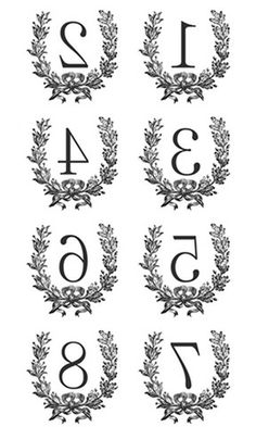 numbers for iron on transfers for napkin project. Print at 8x10