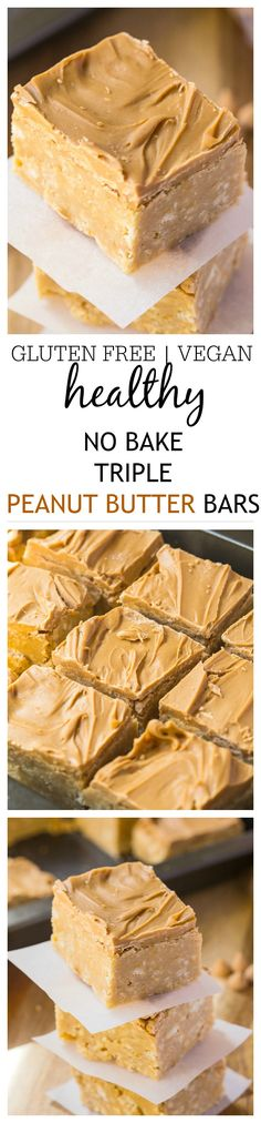 Healthy No Bake Triple Peanut Butter Bars- These healthy no bake triple peanut butter bars are the perfect treat or dessert for any peanut butter lover out there- This recipe comes with two versions, both gluten free and one is vegan- Quick, easy and ready in under 20 minutes! @thebigmansworld - thebigmansworld.com