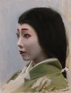 "Lady in Waiting - 31cm x 40cm oil painting on linenPortrait of Katsune a maiko from the Kamishichiken district of Kyoto, dressed as ""Lady in Waiting"" for the Jidai Matsuri. https://www.etsy.com/listing/210075734/lady-in-waiting-31cm-x-40cm-oil-painting?"
