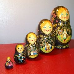 Russian Dolls, A matryoshka. The first Russian nested doll set was carved in 1890. Traditionally the outer layer is a woman, dressed in a sarafan, a traditional Russian peasant dress. The dolls often follow a theme, aside from the typical traditional peasant girls, the themes vary, from fairy tale characters to Soviet leaders. This is an example how Russia's human interaction started to affect everything, including the artwork done.