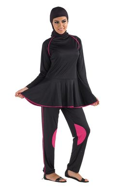 eb3b461674 Black with Pink Accent Swimwear Burqini with an attached flared skirt. This  3 Piece set includes  flared top