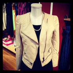 Faux leather jacket in ivory with zipper details. So cute! Wear it over a dress or dress it down with jeans or skinny pants! ♥! ($60)