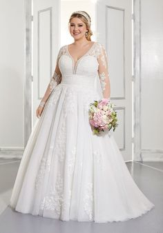 Plus Size Wedding Dresses: Julietta Collection | Morilee Cute Wedding Dress, Wedding Dress Sleeves, Bridal Wedding Dresses, Wedding Dress Styles, Dream Wedding Dresses, Designer Wedding Dresses, Bridal Style, Tulle Wedding, Lace Sleeves