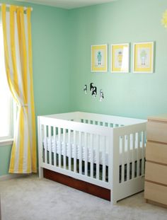 Yellow & aqua nursery  My nursery is already this color.  I could change out the chocolate curtains for spring and summer :)