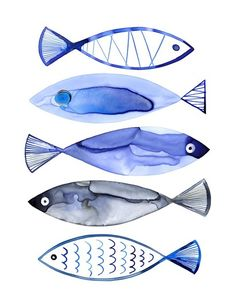 Retro Watercolour Fish Fine-Art Print by Margaret Berg at UrbanLoftArt.com