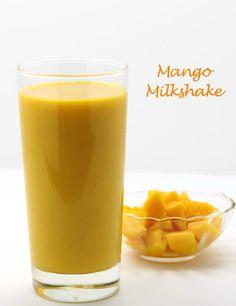 Mango Milkshake - Only 3 Ingredients - Mango, Milk and Sugar - Use Alphonso Mango for Better Taste - Summer Special Chilled Beverage