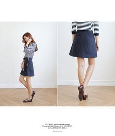 Korea womens shopping mall [styleberry] Simple Wool ALine Skirt  / Size : S,M / Price : 36.17 USD #korea #fashion #style #fashionshop #styleberry #lovely #skirt #Aline #simple #dailylook #dailyfashion #cute #basic #bottom