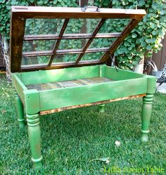 Window Box Table in Green...Created by Little Green Table