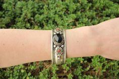 Bohemian black onyx adjustable cuff  $9.95 USD  #boho #gypsy #bohojewelry #hippiejewlery #gypsyjewelry
