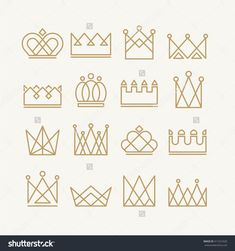 Set of gold crown icons. Collection of crown awards for winners, champions, leadership. Vector isolated elements for logo, label, game, website, hotel, an app design. King, queen or princess crown.